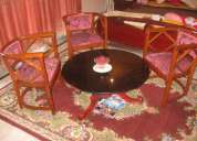Round wooden table with three chairs for lobby roosewood coler for 9000