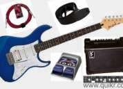 Yamaha guitar + processor + amplifier  (30watt 3input) + leads + belt for sale.