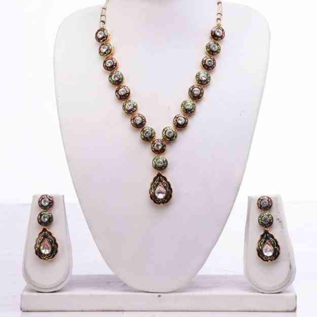 peacock collections-two color  chain kundhan  With Leaf Necklace Set
