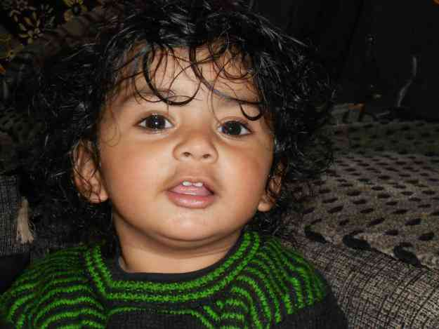 Ayaan is waiting for Add work he is one year old