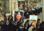 10 december 2010. primary school students protest against   foeticide