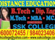 B.tech, diploma,  mba, mca, bba, bca, distance education